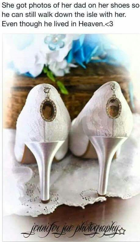 Brides shoes adorned with cameo lockets with her father's picture so he can walk her down the aisle even though he's in heaven
