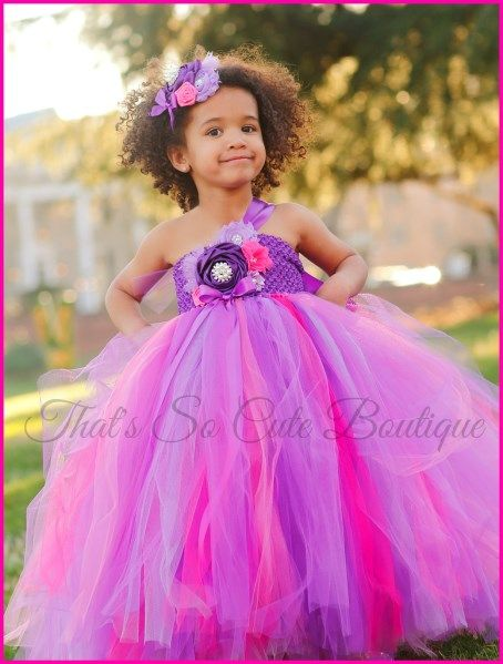 Radiant Orchid and Pink Flower Girl Tutu Dress-purple, lavender, pink, flower girl, tutu dress, flowergirl, radiant orchid, wedding