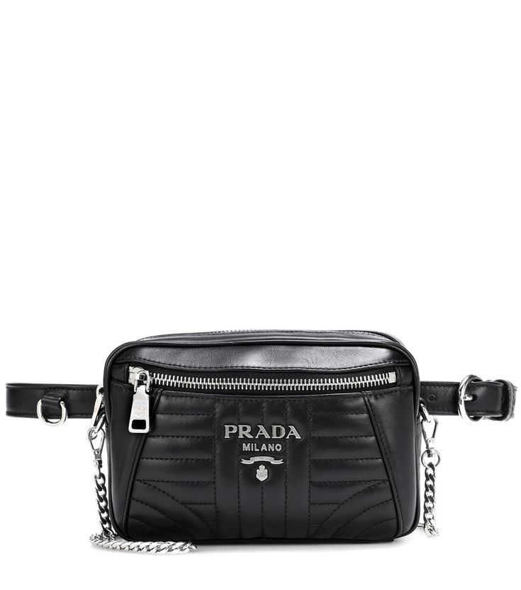 Prada - Diagramme leather belt bag - One of the latest additions to the Prada bag family, the Diagramme belt bag will quickly become a perennial style in your accessories rotation. Crafted in Italy from supple black calf leather, the design features matelassé quilting in modern lines reminiscent of the Art Deco movement. Finished with silver-tone hardware, the piece can alternatively be carried by the detachable curb-chain crossbody strap.