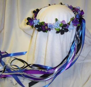 Jessie Silk flower Head Wreath / Blue / Purple / Renaissance / Wedding by janreamb
