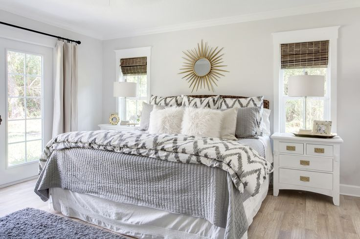 bedroom, before after, renovation, bedroom redo, revamp bedroom, grey bedroom, sunburst mirror, chevron west elm duvet, white bedroom furniture, american white paint, furry pillows, gold hardware, interior design