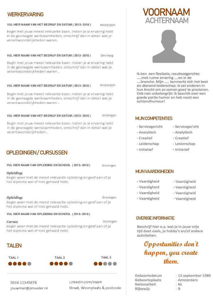 Modern Word cv template en motivatiebrief Cv sjabloon