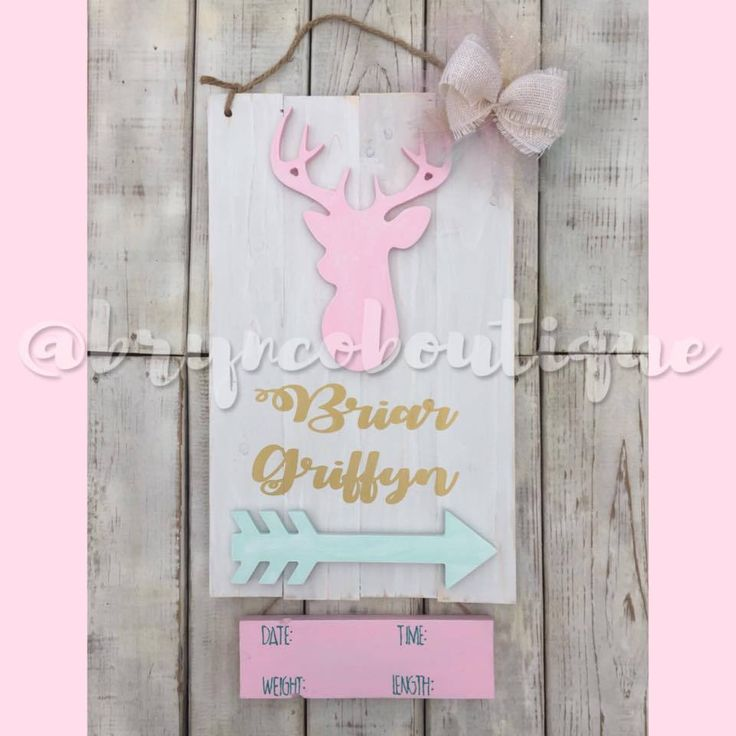 Baby Girl / Deer / Hospital Door Hanger / We Love You Deerly / Birth Announcement / Hospital Wreath
