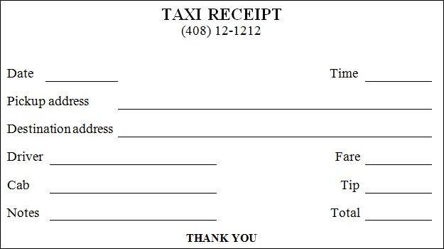 Taxi Receipt Template Receipt Template Invoice Template Word Invoice Template