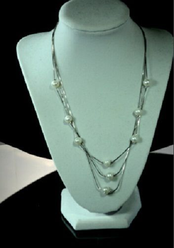 9 mm Natural Freshwater Pearl Necklace 9 Pearl Beads 3 Strand 925 Silver Chain