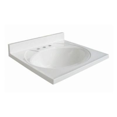 Woodcrafters Newport 19 In Ab Engineered Composite Vanity Top In White With White Bowl N19gb W
