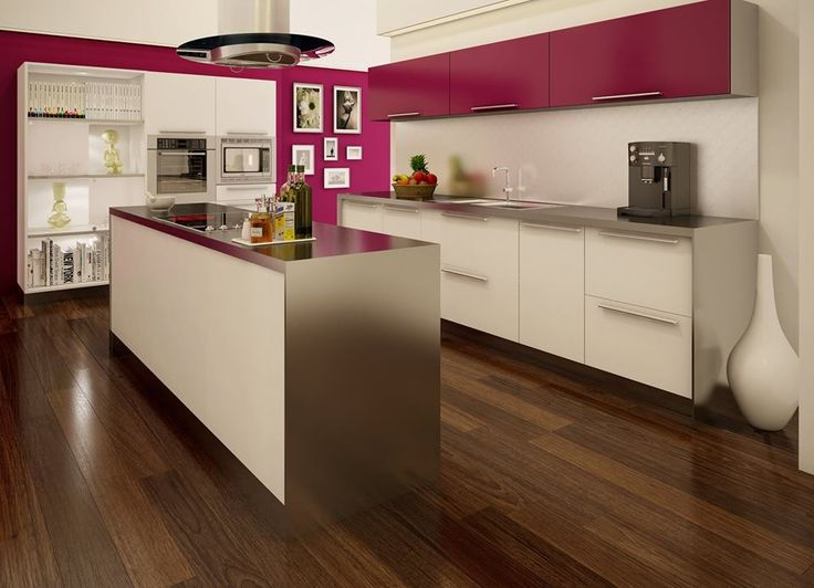 A vibrant cherry red kitchen to elevate your mood when you cook! #stylish #elegant