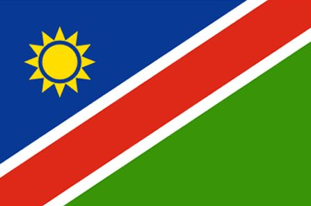 The Namibia flag was officially adopted on March 21, 1990.           The blue, red and green were the colors of the South West African People's Organization (SWAPO), the group that liberated the country in 1990. In addition, those same colors are representative of the Democractic Turnhill Alliance, a political party. The sun is symbolic of energy and life.