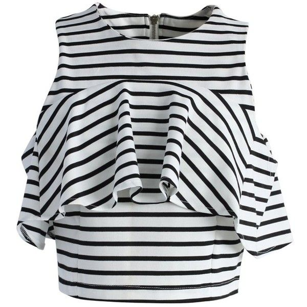 Chicwish Jovial Stripe Cropped Top (€33) ❤ liked on Polyvore featuring tops, black, frilly tops, flutter crop top, crop top, flounce top and round neck top