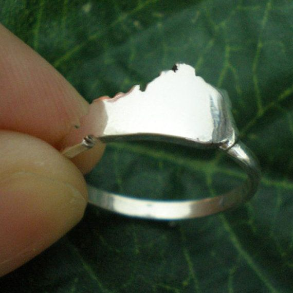 LOVE THIS! KY Kentucky State Silver Ring Kentucky Outline Map by yhtanaff, $35.00