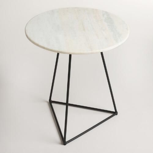 One of my favorite discoveries at WorldMarket.com: White Marble and Metal Round Accent Table