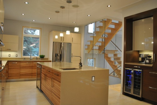 like the coffee/wine bar   Kitchen 001 - contemporary - kitchen - other metros - Tanner Vine - 2Go Custom Kitchens Inc