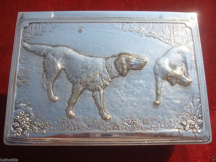 GERMAN ART DECO WILHELM WOLFF HUNTING DOG REPOUSSE SILVERPLATE BRASS JEWELRY BOX #German  #Wilhelm Wolff #Silverplated #JewelryBox #CigarretteBox #Dogs #HuntingDogs #Setters #EnglishSetters