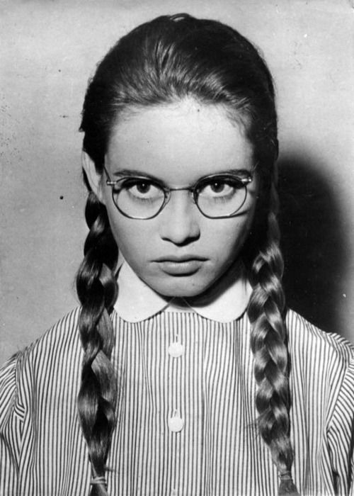 Here's another young Bardot, @Raquel Busetto, that sort of bridges the gap.  I think she looks a little Bad Seed here!: Face, Girl, Bridget Bardot, Glass, Young Brigitte, Brigitte Bardot, People