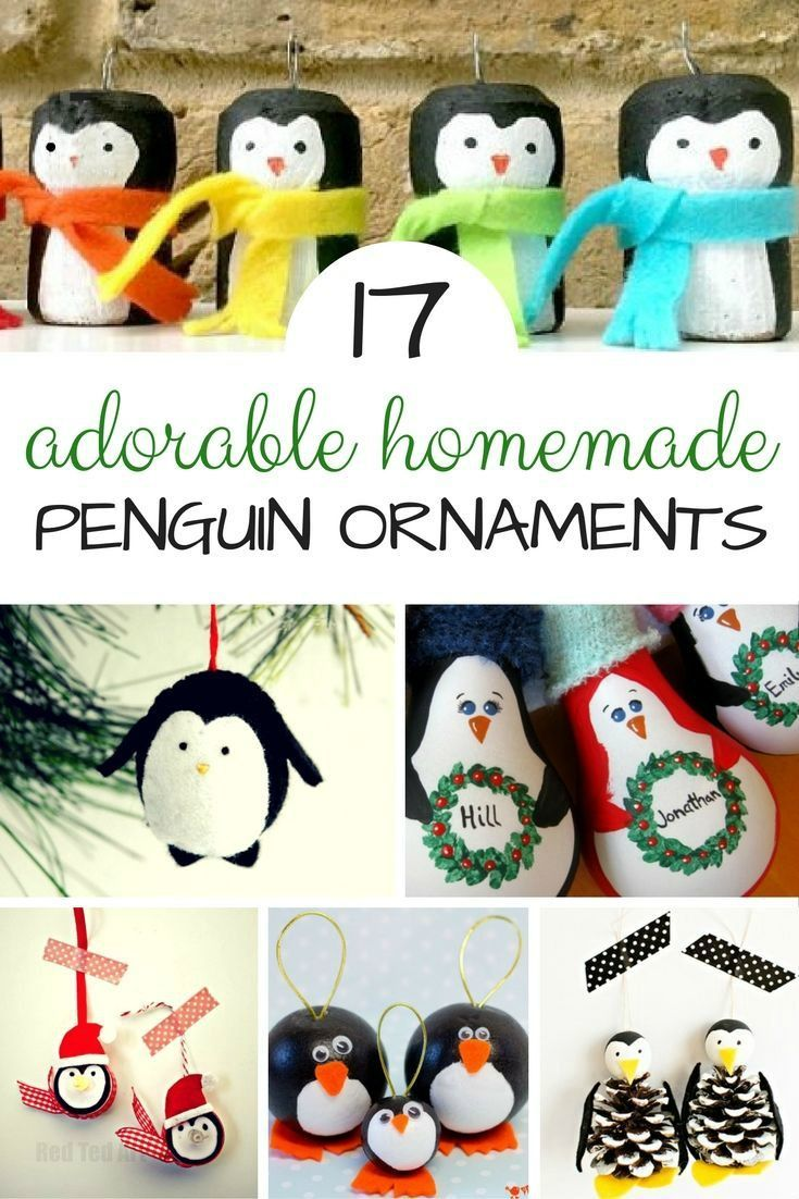 """Gorgeous Homemade Penguin Ornaments DIYs - we do love all things handmade at Christmas.. and these darling Penguin Ornaments will look great on the Christmas Tree of for brightening up the Winter months on a """"Winter Tree"""". Lovely Penguin Crafts to make!"""