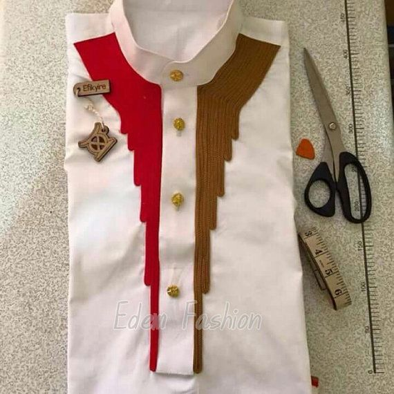 African shirt Red and brown embroidery African by EdemFashion
