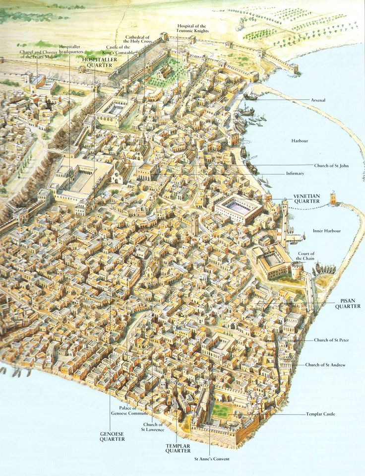 A map of the Crusader city of Acre in the 13th century.