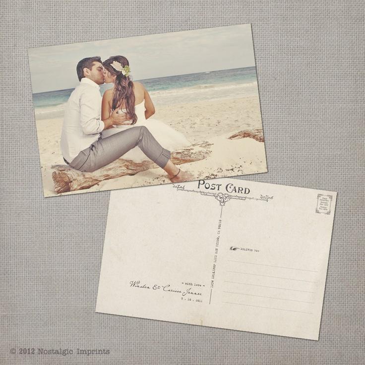 Vintage Wedding Postcard Thank You Cards - the  - wedding postcard