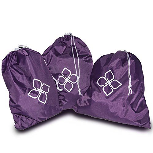 Alku Travel Nylon Shoe and Laundry Bags 3pack Set Waterresistant Large Purple >>> Want additional info? Click on the image.