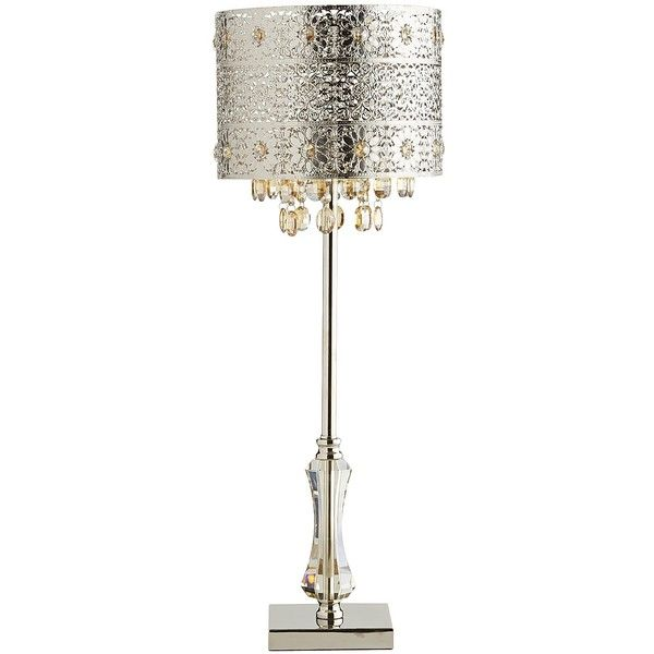 Pier 1 Imports Silver Bohemian Crystal Lamp ($149) ❤ liked on Polyvore featuring home, lighting, table lamps, silver, floral lamp, silver lights, outside lamps, crystal table lamp and pier 1 imports
