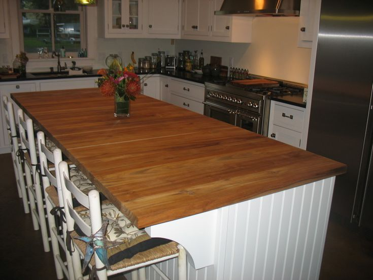 Captivating Recycled Glass Kitchen Countertops : Rustic Brown Varnished  Teak Wood Kitchen Islandtop With Standard Recycled