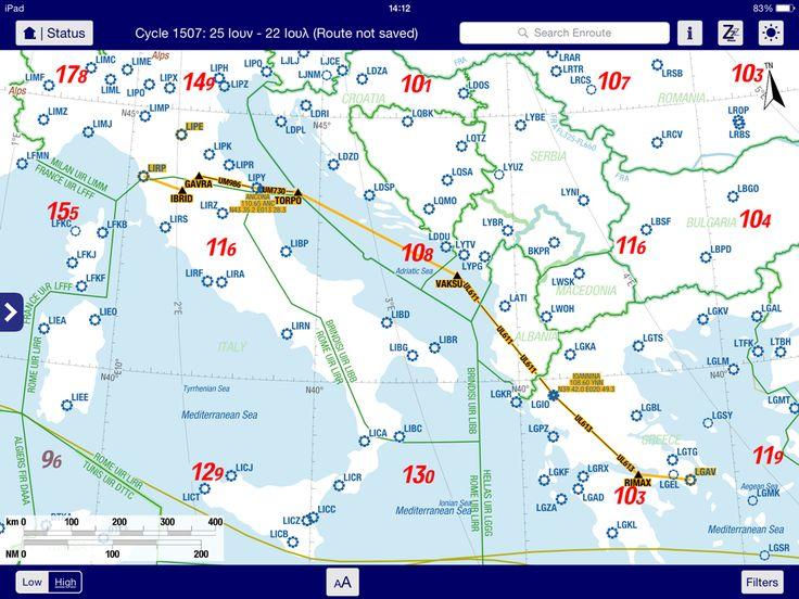 Η πορεία της πτήσης μας γιά την Πίζα στόν αεροπορικό χάρτη