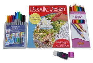 Colouring Book Sets with Pencils and Pens