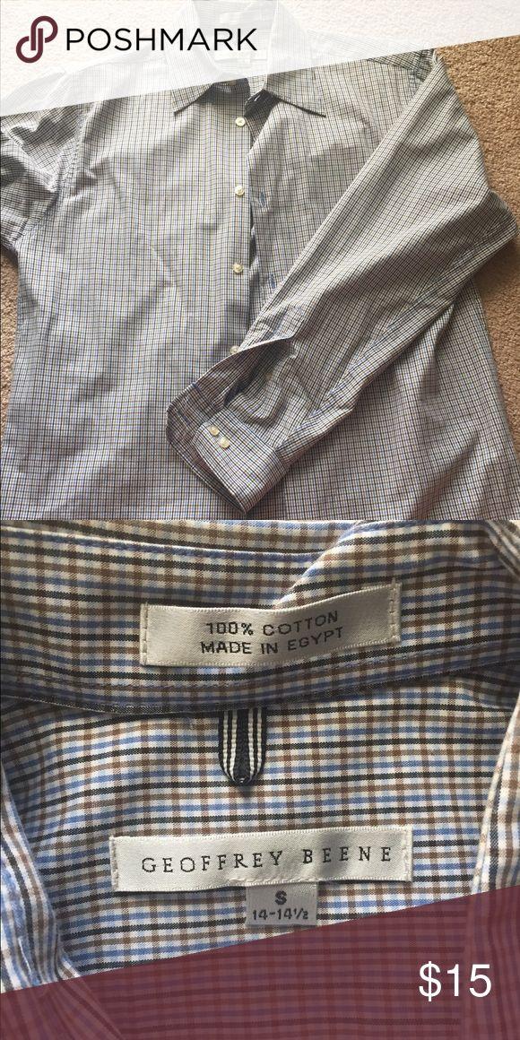 "Geoffrey Beene shirt Men's Geoffrey Beene shirt. Small 14/14.5"" neck blue/brown/navy Geoffrey Beene Shirts Casual Button Down Shirts"