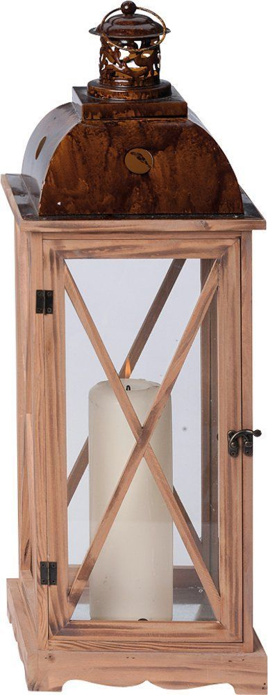 G2262: Große Rustikale Natur Holz Laterne, Landhaus Laterne mit Metalldach | eBay