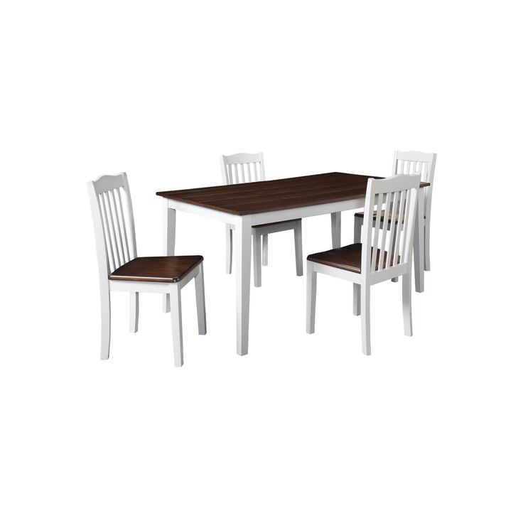 Shiloh 5 Piece Rustic Dining Set - Creamy White-Rustic Mahogany (Brown) - Dorel Living