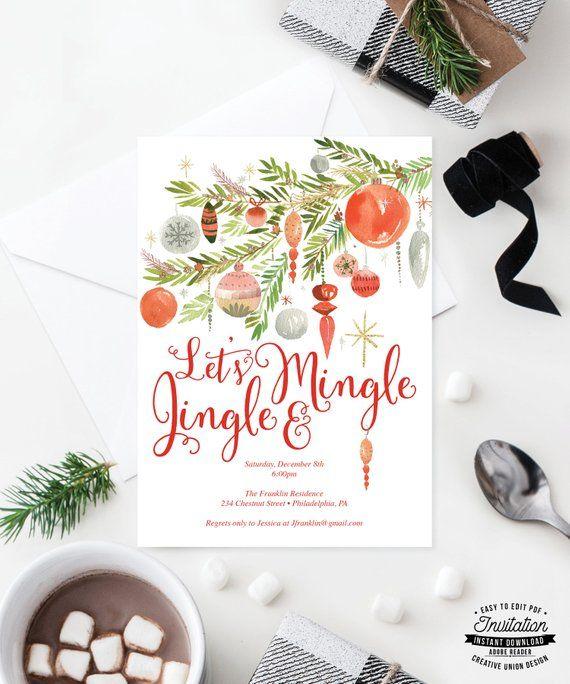 Jingle and Mingle Invite - Holiday Party Invitation - Christmas