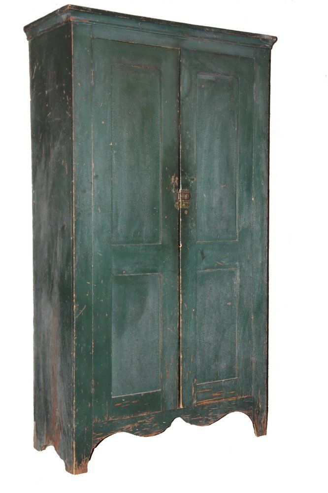PAINTED PINE CUPBOARD - 19th c. Maine Country Cupboard in forest green  paint, having