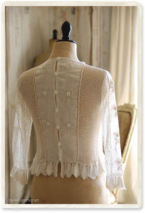 アイリッシュクロッシェ ブラウス - 【Belle Lurette】ヨーロッパ フランス アンティークレース リネン服の通販