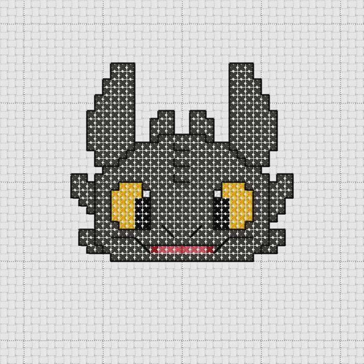 toothless cross stitch pattern free - Google Search