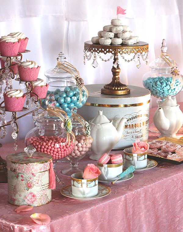 Tea Party {Dessert Display} A little too much, but I like the vintage feel.