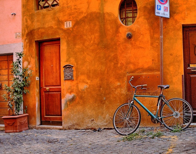Ochre, the color of Rome.   (The bike needs some ochre paint)