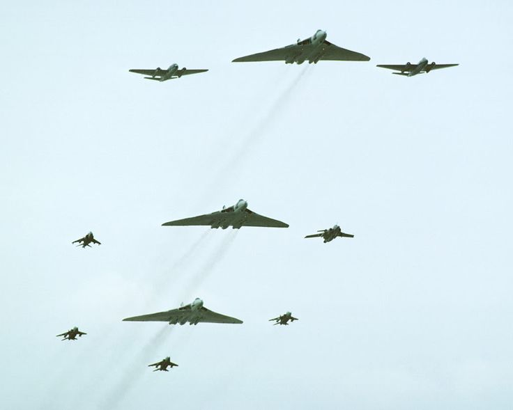 Vulcan's, Canberra's, a Buccaneer, a Harrier and Jaguar's fly-past at the Royal Review at RAF Finningly 1977