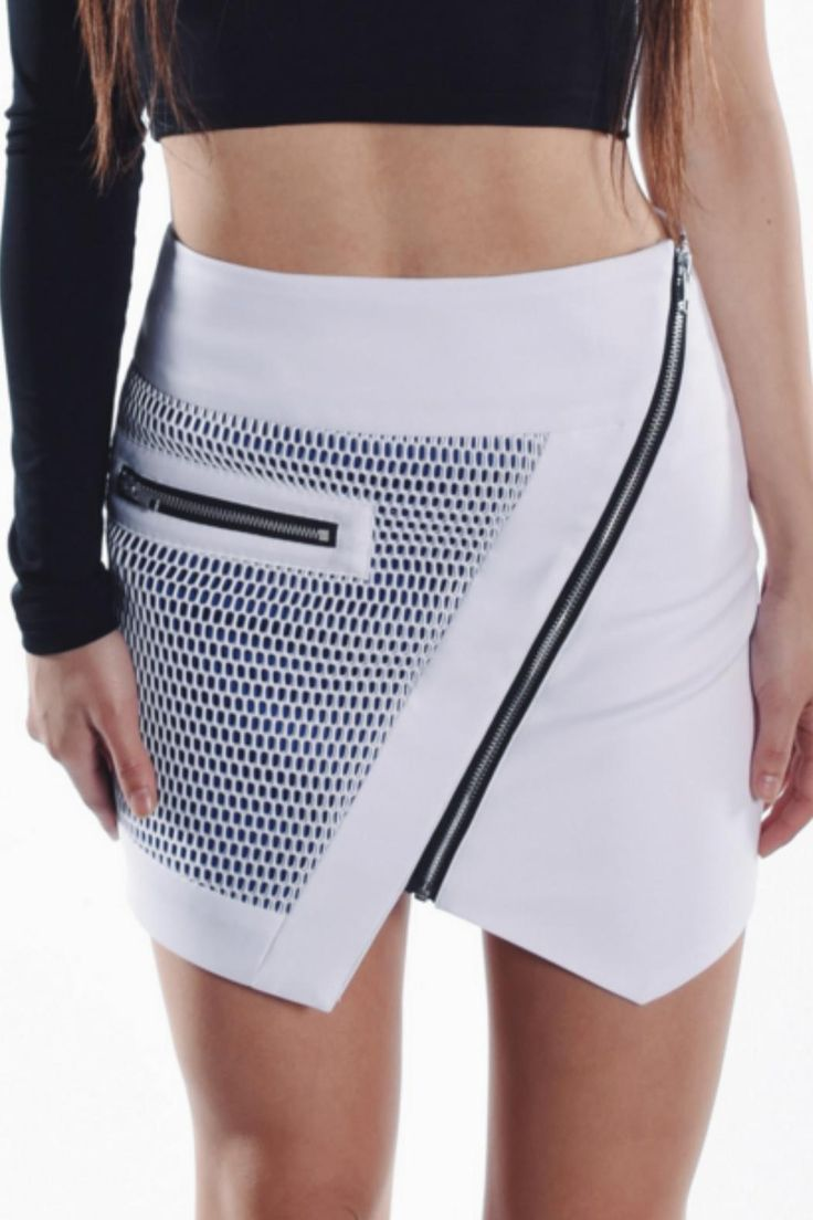 Asymmetrical split hem skirt with white over blue optic mesh panel and exposed metal zippers, fully lined.   Asymmetric Mesh Skirt Clothing - Skirts - Mini Toronto, Canada