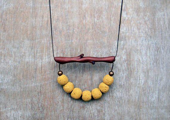 Collana di corallo gialla, gialla collana, collana di ramo, Polymer Clay Collana, collana del ramoscello