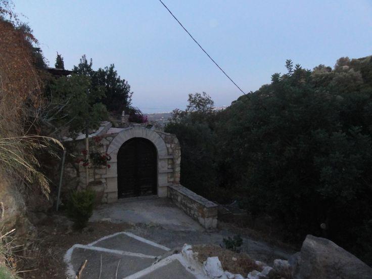 entrance door of traditional villa in maroulas village