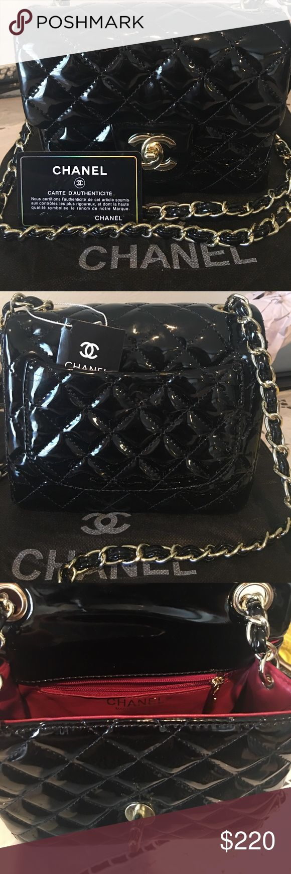 Patent leather Chanel shoulder bag Beautiful classy small size patent leather bag. New with tag. Comes with with card no serial# Top quality. Receive a free small size Chanel swimwear. chanel Bags Crossbody Bags