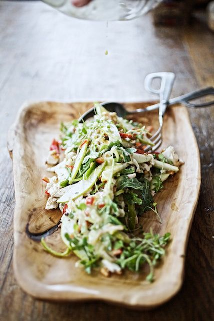 warm chicken salad with peppers, pears and toasted pinenuts.