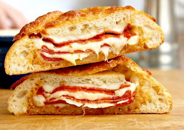 Pepperoni & Cheese Stuffed Ciabatta Bread