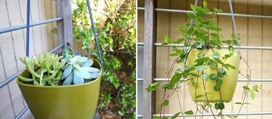 Rustic hanging flowerpots