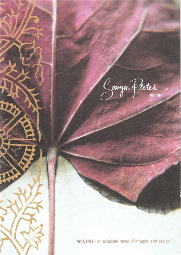 Cover of the Art Card collection, with red autumn / fall leaf and gold ink. Image is from the 'Peep Show' series by Sonya Pletes. Fusion of fashion, nature and textiles.