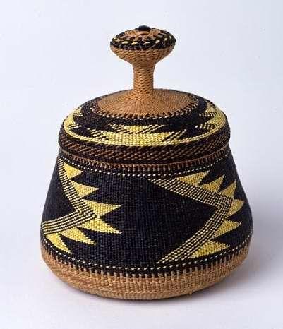 Native American Basket. By Elizabeth Conrad Hickox. Materials: Maidenhair fern, yellow dyed porcupine quills, split willow or wild grape root, myrtle sticks.