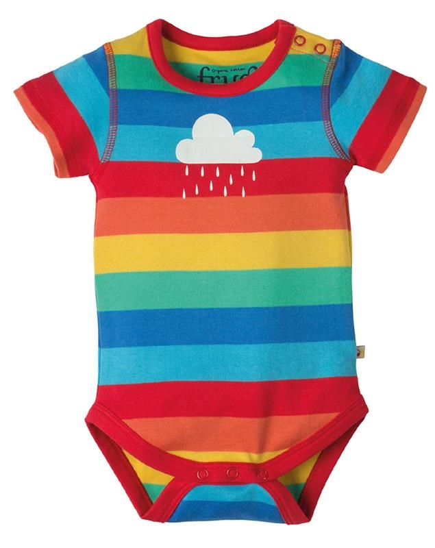 Frugi s/s Bodysuit - Rainbow stripes/cloud Retro Baby Clothes - Baby Boy clothes - Danish Baby Clothes - Smafolk - Toddler clothing - Baby Clothing - Baby clothes Online