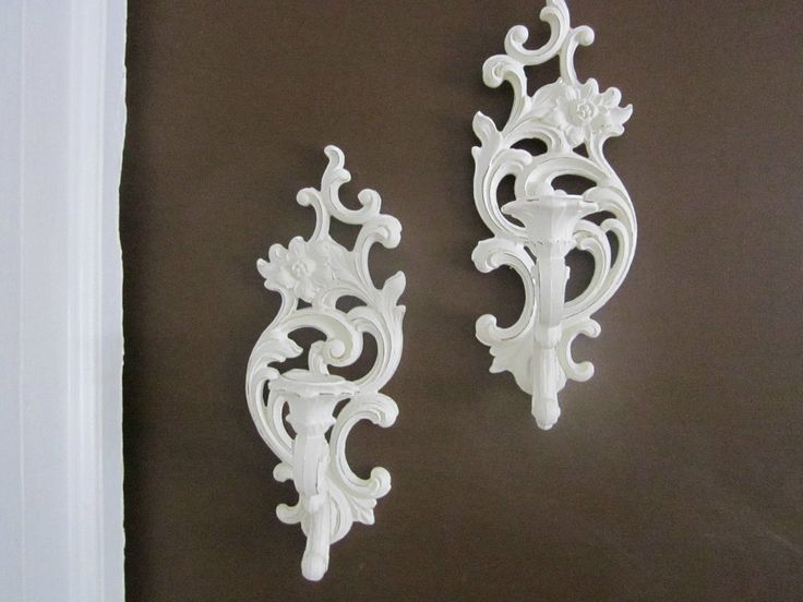 pair of syroco candle sconces painted creamy white u0026 shabbied