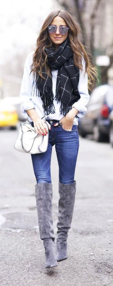 #fall #fashion / knee-length boots + scarf