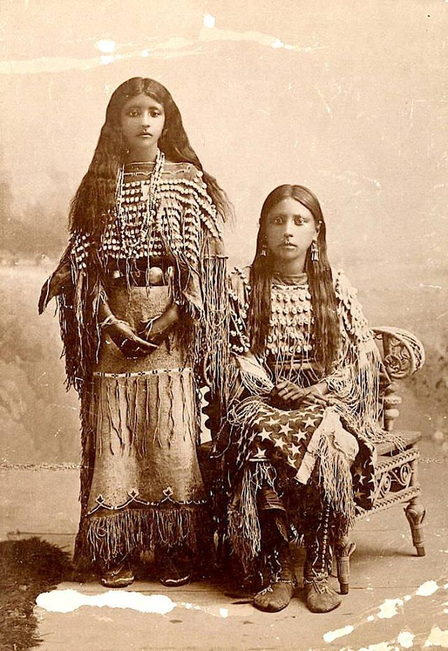 "MOSES ON THE MESA Kiowa girls (one is named ""Josie""). ca. 1890. Photo by C.C. Stotz."